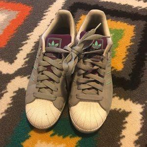 Adidas Men's Size 10 Gray & Purple Sneakers